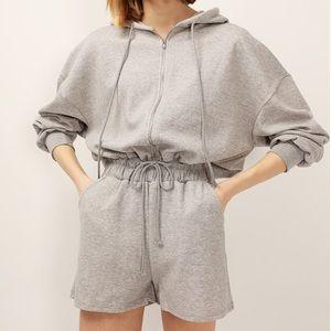 Zip up hoodie romper